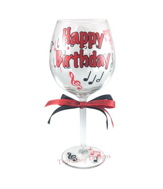 Verre De Vin D Anniversaire Verre De Vin De Joyeux Anniversaire Verre D Anniversaire Verre De Vin D Anniversaire Personnalisé Verre De Bon