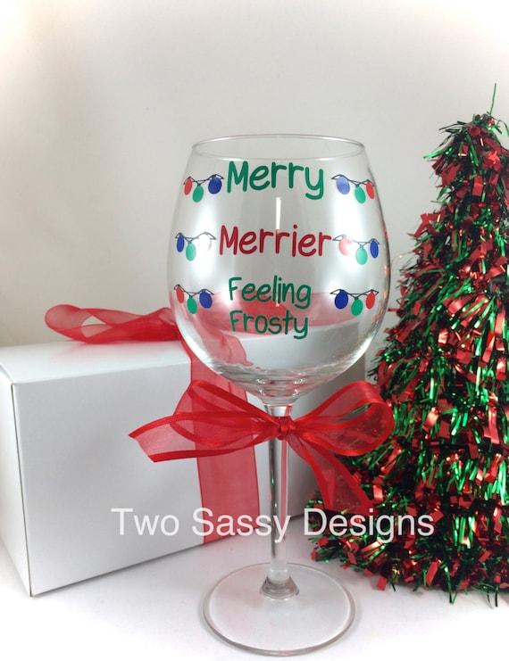 Noël personnalisé gravé noël verre vin secret santa cadeau cadeau 12