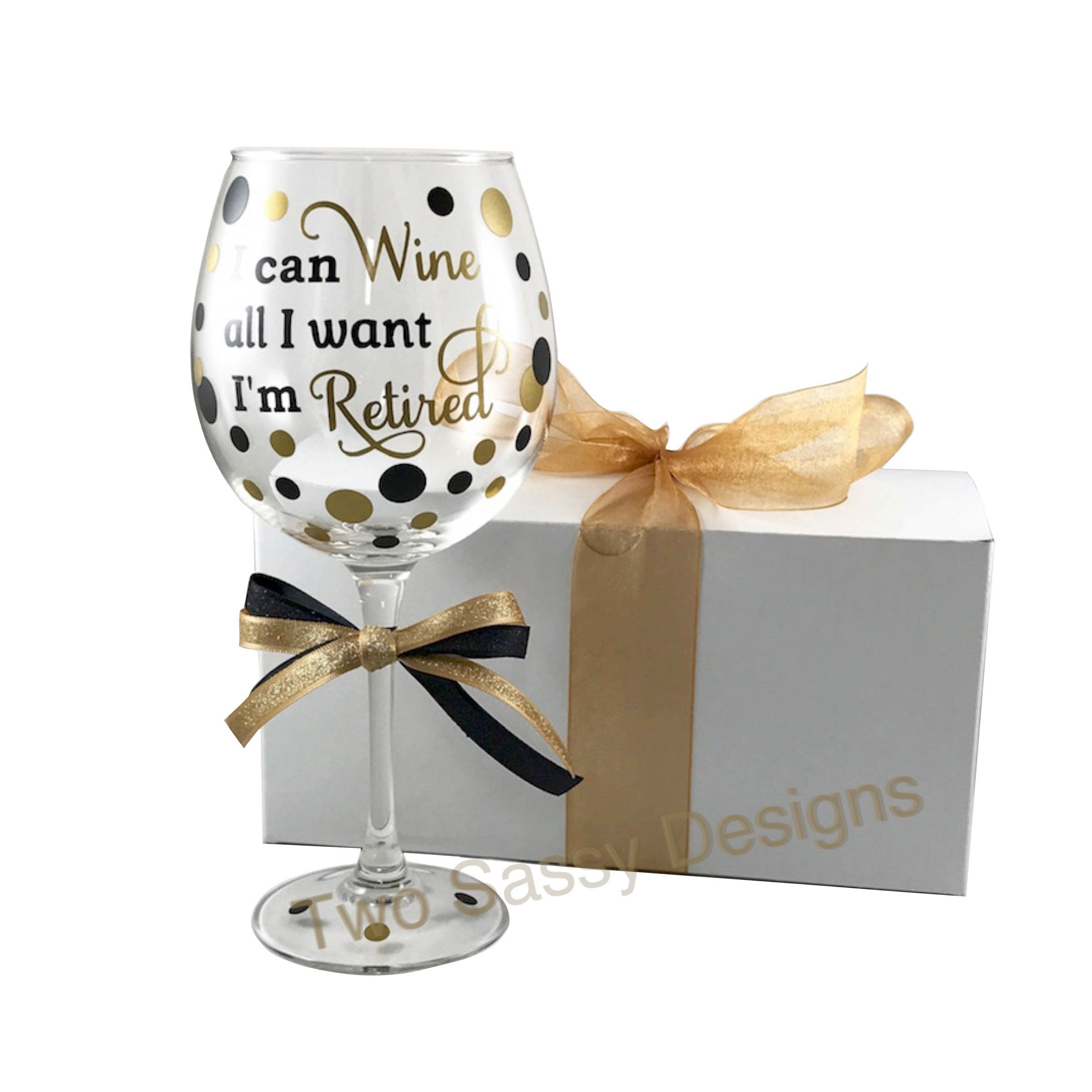 Retirement Gift Retirement Party Gift Retired Wine Glass