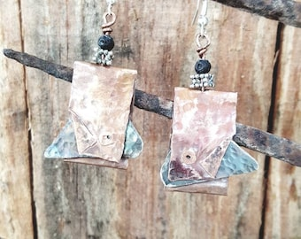 Organic riveted copper and silver nickel earrings
