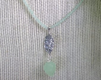 Woodleaf Prehnite ~ Dew Drop Choker Necklace