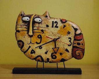 Cat clock - desk clock - designer clock - table clock - paper mache