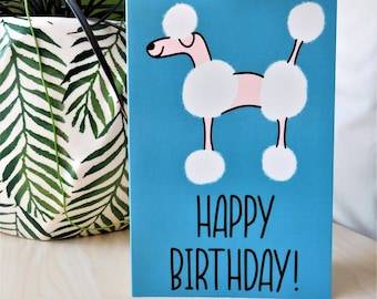 Poodle Happy Birthday, birthday card, greetings card, dog card, from the dog, dog owner, printed, for him, for her, boyfriend, girlfriend,