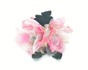 Fascinators Corsages Crafts Hats Hair Clips Bridal Sweety PinkGreen--Double Silk Magnolia Millinery Flower for Wedding Florals