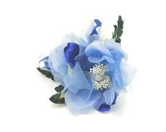 89cd30d2ffb93 Royal Blue Green--Double Silk Magnolia Millinery Flower for Wedding  Florals