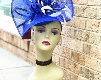 Fabulous Vintage 40s Cobalt Blue Chenille Satin Ribbon Ladies Hat  Cocktail Hat Gift for Her