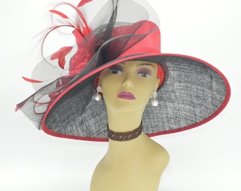 310ef42d971 M826( Black Red )High Quality Kentucky Derby Hat Church Wedding Easter Royal  Ascot Tea Party Wide Brim   Silk Flower Woman Sinamay Hat