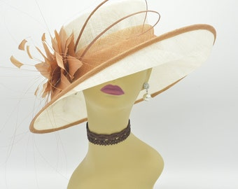 ED319 Wedding Teal BlueBurgundy Shade Kentucky Derby Church Tea Party with Jumbo Ascot Netting and Feathers 5 Wide Brim Organza Hat