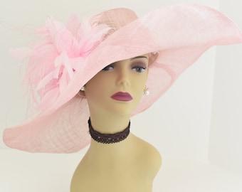 508 (Blush Pink) High Quality NEW Kentucky Derby Church Wedding Tea Party  Sinamay Feather Flower Wide Brim Dress Hat ea1a52e0c5a
