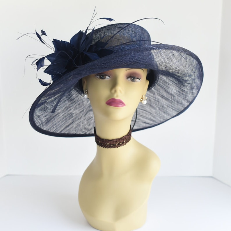 cbe6baec2 L17( Navy )New Kentucky Derby, Church, Wedding, Easter, Tea Party Royal  Ascot Wide Brim with feather flower Sinamay Hat