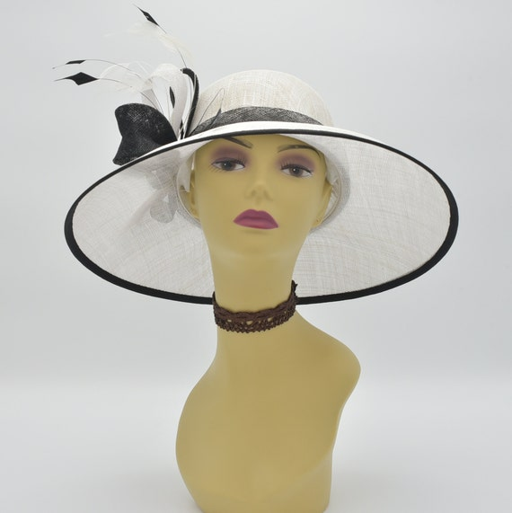 65f3ac9e0705f M100 White Black Kentucky Derby Hat Church Hat Wedding