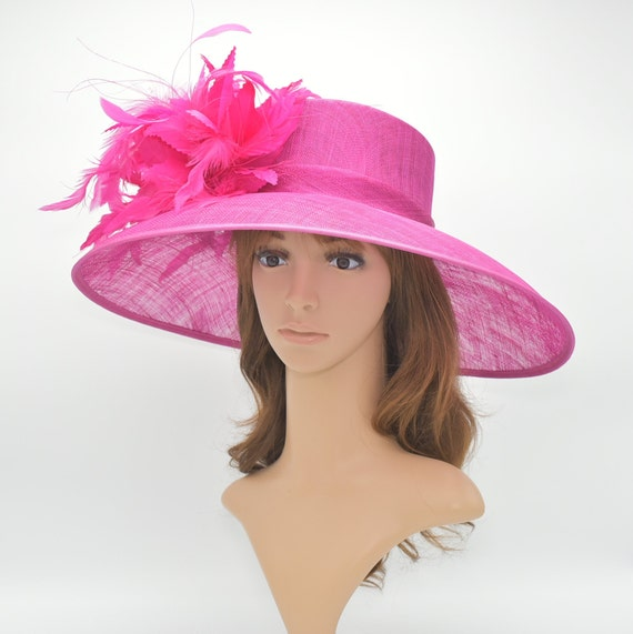 8e8dba894 SD15( Fuschia/20 Colors )Kentucky Derby Hat, Church Hat, Wedding Hat,  Easter, Tea Party w Jumbo Feather Flower Wide Brim Woman's Sinamay Hat