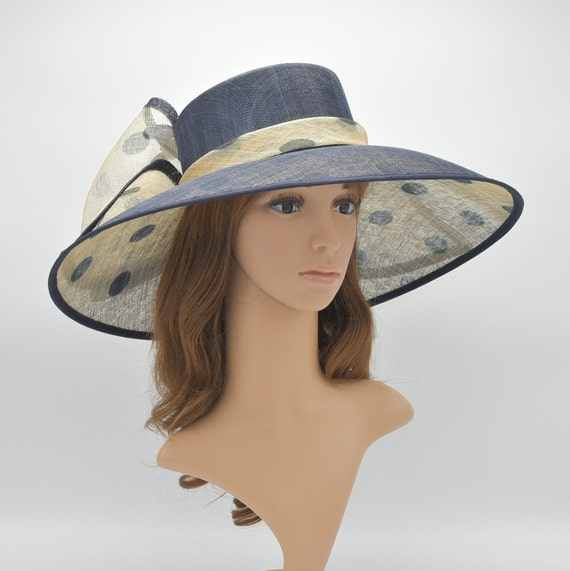 1390103d05d M95 Navy Beige Natural Kentucky Derby Hat Church Hat