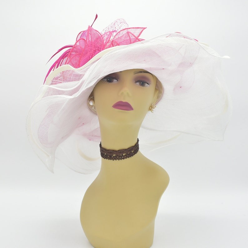 5d7bbd0d9ff ED4199White Off-white Fuschia Kentucky Derby Hat Church