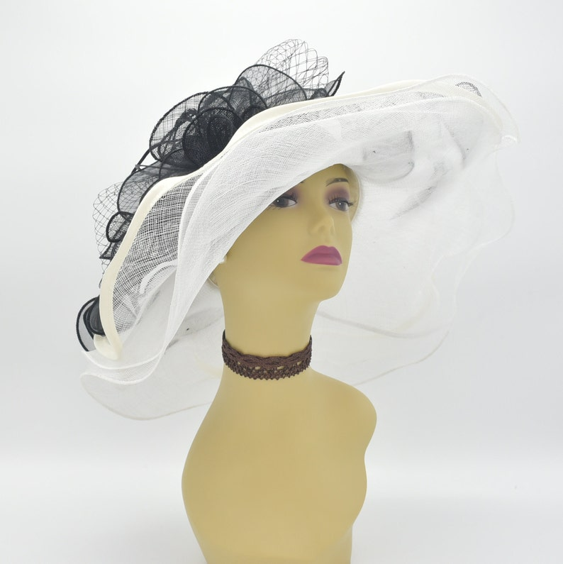8944a51a138 ED4199White Off-white Black Kentucky Derby Hat Church Hat