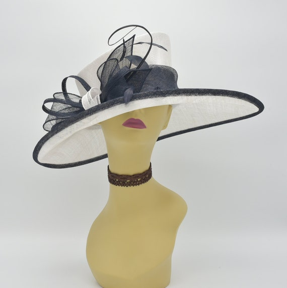 044874760ad M34 White Black Kentucky Derby Hat Church Hat Wedding