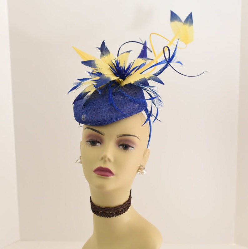 Royal Blue//Yellow Kentucky Derby Wedding Sinamay feathers Fascinator 99A