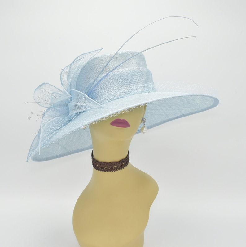 27171d5013 M489 Powder Blue Kentucky Derby Hat Church Wedding Easter