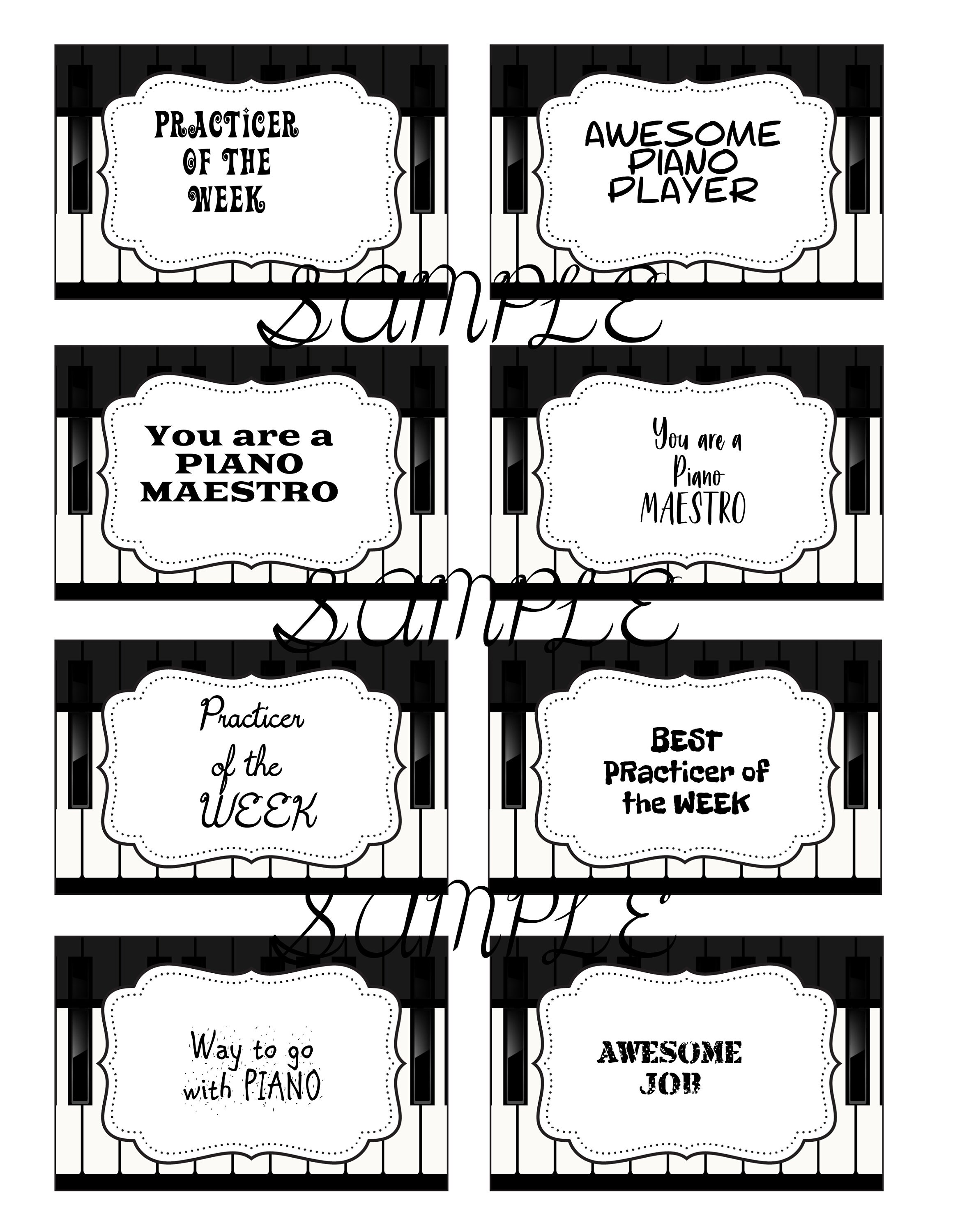 cute black and white piano labels. perfect for piano teachers | etsy