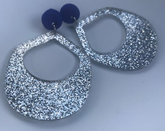 Blue clay, glitter and silver cutout dangle earrings, cute, perfect gift, unique