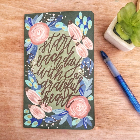 Start Each Day Hand Lettered Painted (Ruled Line) Journal