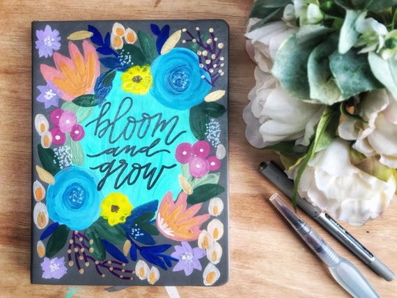 Bloom and Grow Hand Lettered Leather Journal