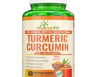 Pure Turmeric Curcumin - 180 Vegetable Capsules - High Potency Turmeric