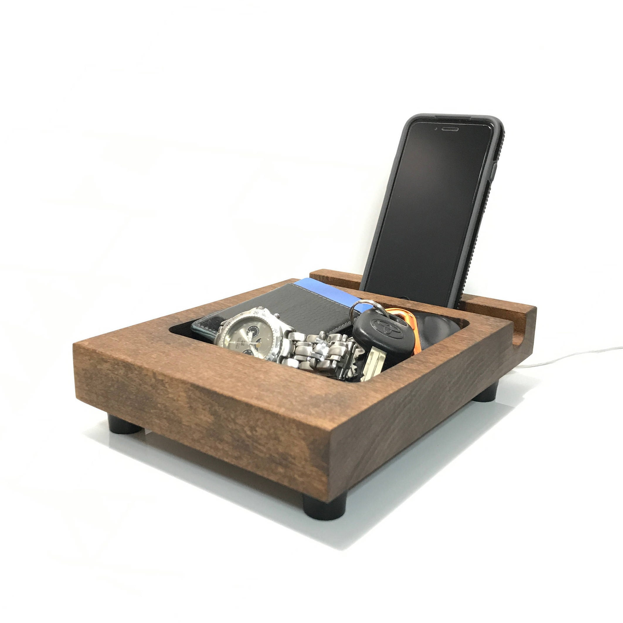 Docking Station For Iphone Or Ipad Rustic Wood Charging