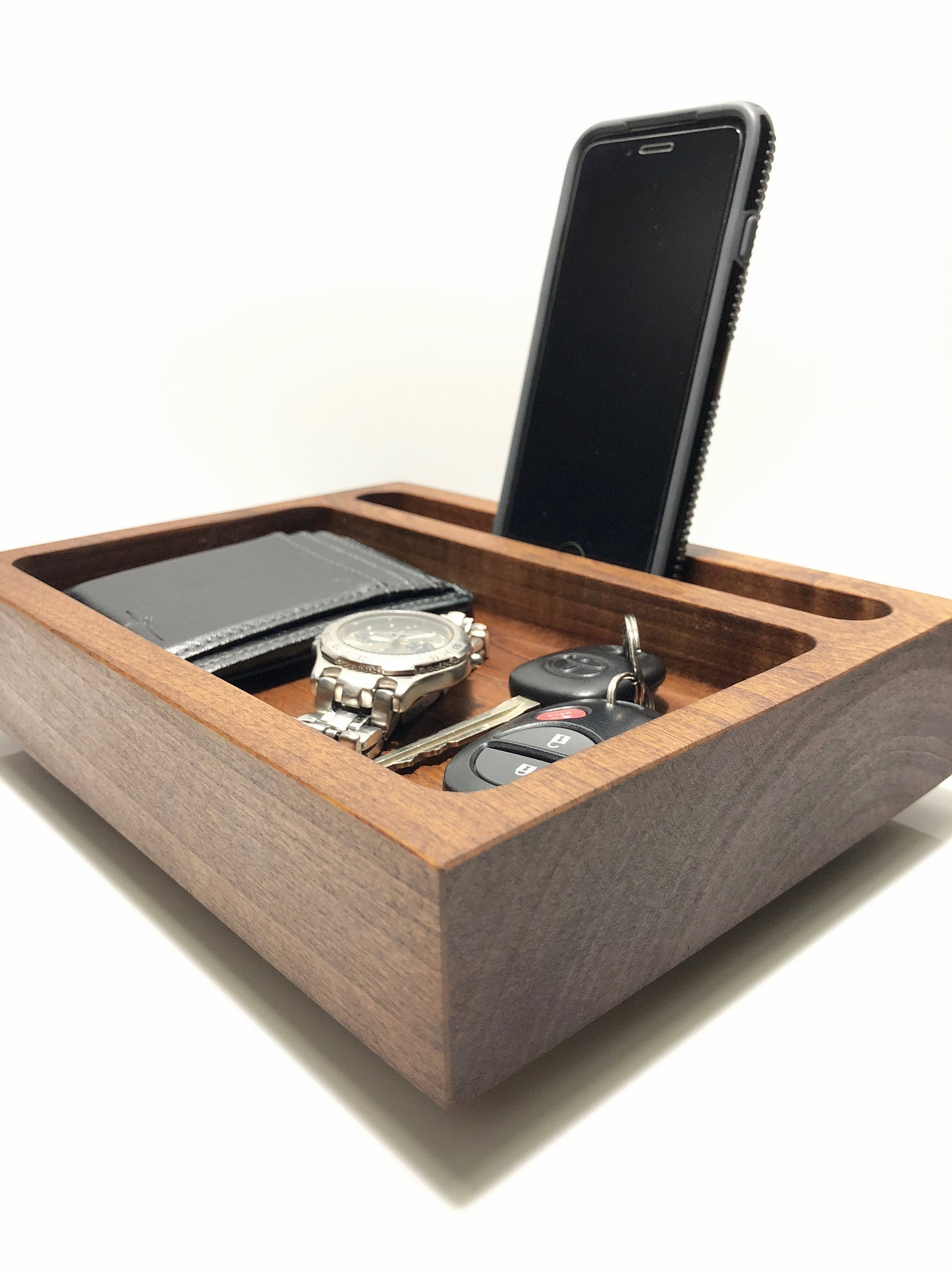 Charging Station Organizer Rustic Style Wood Iphone