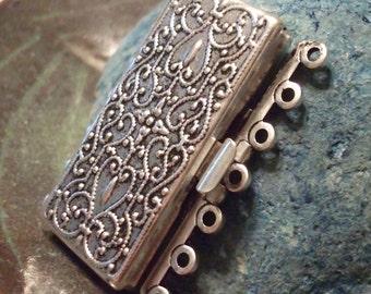 Seven Strand Antique Silver Filigree Clasp
