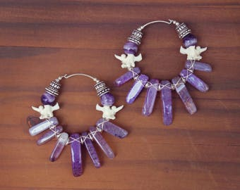 Dangle Ear Weight, Dangle Plugs, Weights, Tunnel, Stretched Lobes, Earrings for Gauges, Tunnel Earrings, Amethyst Ear Weights