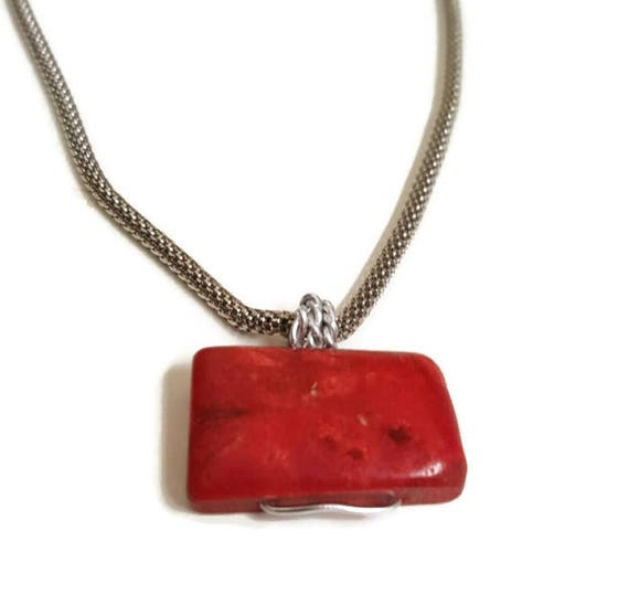Sterling Silver Polished Red Synthetic Coral Pendant Pendants /& Charms Jewelry