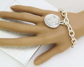 Wire Wrap Bracelet, Silver Wrap Bracelet, Wrap Wire Bracelet, Stone Bracelet, White Silver Bracelet, White Bracelet, Wire Silver Bracelet,