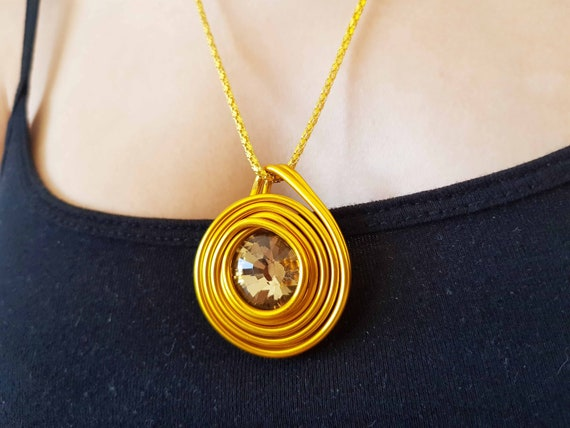 Gold Pendant Necklace Big Round Pendant Long Necklace Etsy
