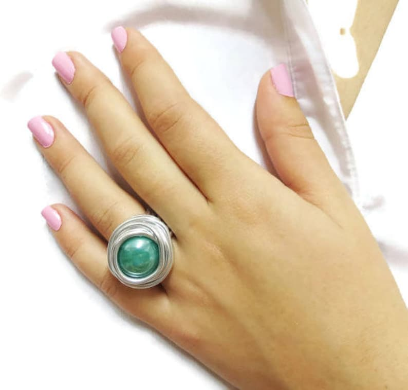 Green Ring, Silver Ring, Round Ring, Big Ring, All Size Ring, Wire Wrapping  Ring, Stylish Ring, Gift For Her, Silver Wire Wrapped,Women Ring