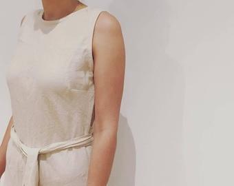 Linen bias tunic dress