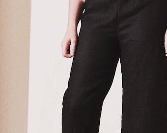 Linen elastic waist pants cropped