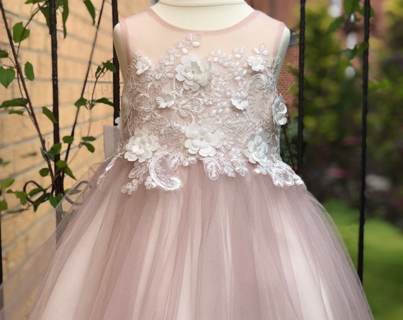 Dusty Rose 3D Flower Lace V Back Wedding Flower Girl Dress M0078B