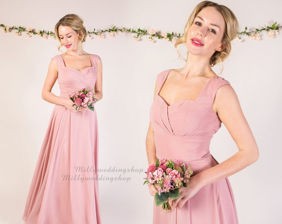 Chiffon Flowy Bridesmaid Dress with sweetheart neckline and keyhole back B012