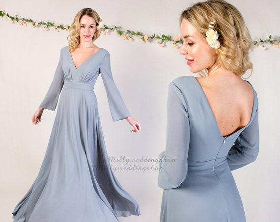 V Neck Chiffon Flowy Bridesmaid Dress with Long Sleeves B018