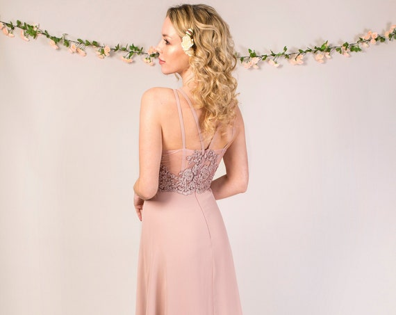 Chiffon Bridesmaid Dress with ruched bodice and lace open back B008