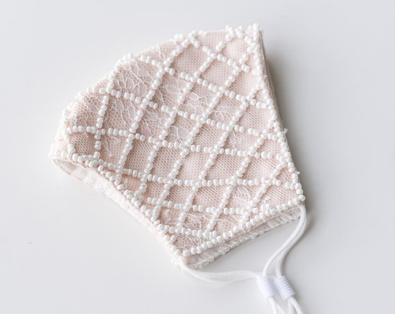 Pearl Beaded Bridal Face Covering Mask