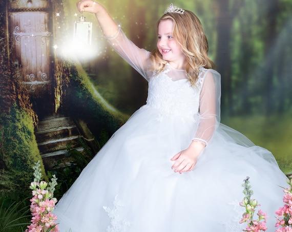Long Sleeves Floor Length Ivory Lace Tulle Flower Girl Bridesmaid Dress M0088