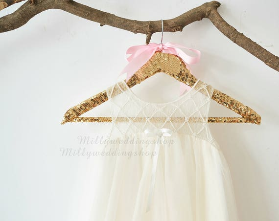 Boho Beach Pearl Beaded Lace Champagne Tulle Wedding Flower Girl Dress M0072