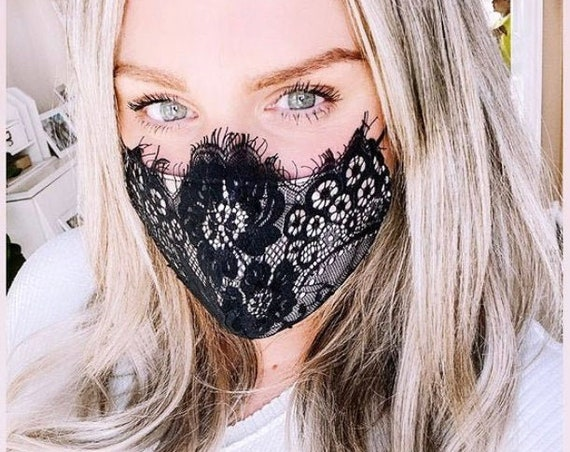 Eyelash Lace Bridal Face Covering Mask