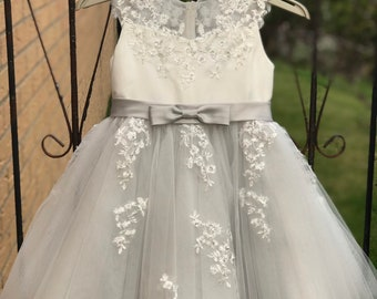 15e4b319324 Silver Grey Illusion Sheer Lace Flower Girl Dress M0062B