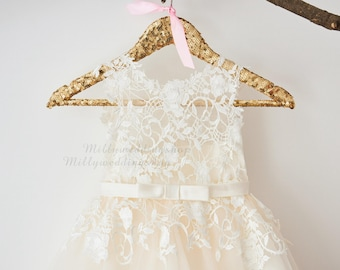 d08e7a7252d Ivory Lace Champagne Tulle Flower Girl Dress with Bow Belt M0049