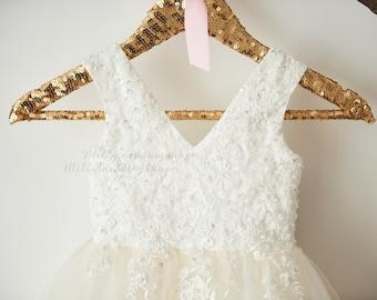 29c03b9f6324 Luxury Beaded Lace Flower Girl Dress M0060