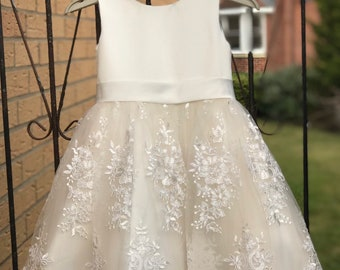 39c98650872 Ivory Satin Lace Champagne Tulle Flower Girl Dress Wedding Bridesmaid Dress  M0036B