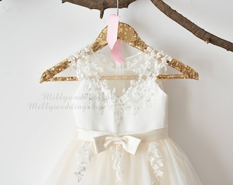 e98123f9db7 Illusion Sheer Lace Flower Girl Dress M0062